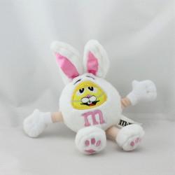 Doudou peluche lapin blanc jaune rose M&M'S