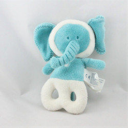 Doudou hochet éléphant bleu blanc OBAIBI