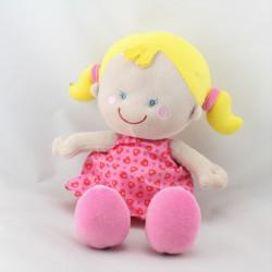 Doudou ma première poupée rose pois coeurs KIKOU