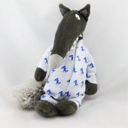 Doudou loup marron gris pyjama AUZOU