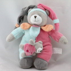 Doudou et compagnie collector musical ours gris rose bleu orange bébé