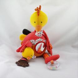 Doudou eveil musical oiseau autruche rouge orange EBULOBO