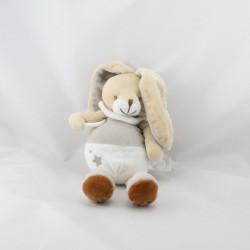 Doudou lapin blanc beige gris étoile UN REVE DE BEBE