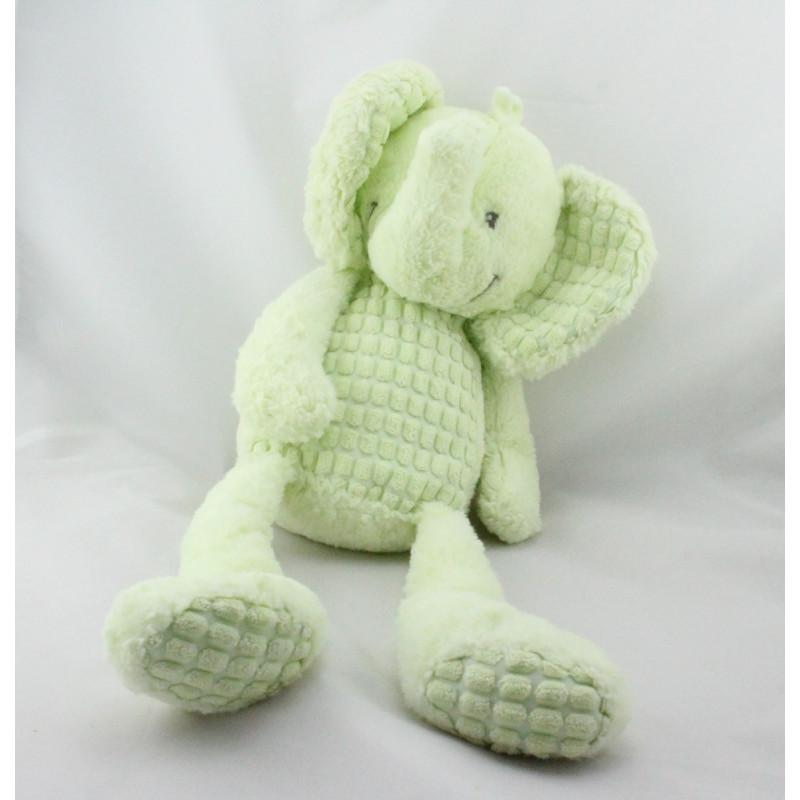 Grand Doudou éléphant vert NICOTOY