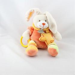 Doudou lapin orange jaune vert étoile anneau BABY NAT