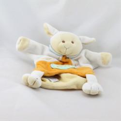 Doudou et compagnie marionnette mouton agneau blanc orange bleu