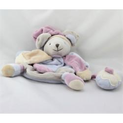 Doudou et compagnie marionnette souris grise bleu rose beige