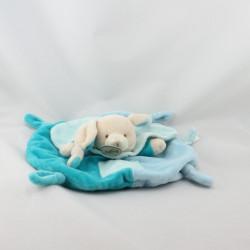 Doudou plat rond lapin bleu turquoise BABY NAT