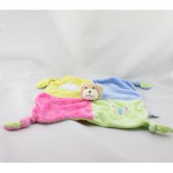 Doudou plat ours jaune vert rose bleu nuage GIPSY