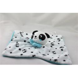 Doudou plat panda blanc noir bleu étoiles KIMADI