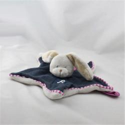 Doudou plat étoile lapin bleu marine beige rose PERICLES