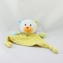 Doudou plat chat blanc jaune bleu vert rose rayé