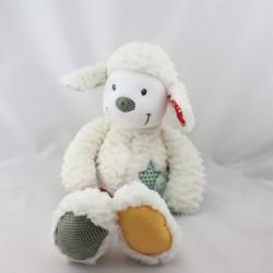 Doudou mouton blanc bleu vert rouge pois étoiles NICOTOY