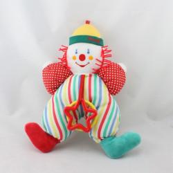 Doudou clown blanc rouge bleu vert jaune pois rayures hochet COROLLE