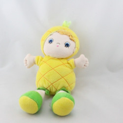 Doudou poupée ananas jaune AURORA BABY