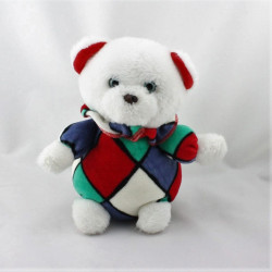 Doudou peluche ours blanc rouge bleu vert NOUNOURS