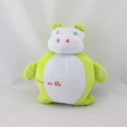 Doudou musical hippopotame blanc vert GRAIN DE BLE