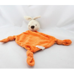 Doudou plat lapin beige orange