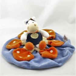 Doudou et compagnie plat rond cheval ane bleu blanc orange Justin
