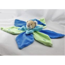 Doudou plat fleur pétale koala Coco bleu vert TAKINOU