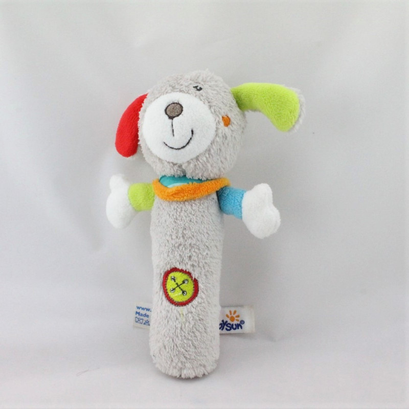 Doudou baton pouet chien gris bleu vert rouge BABYSUN