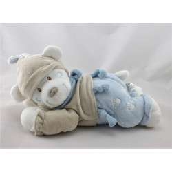 Doudou musical ours beige bleu blanc empreintes NICOTOY