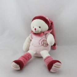 Doudou et compagnie chat Minouchette rose blanc bordeaux