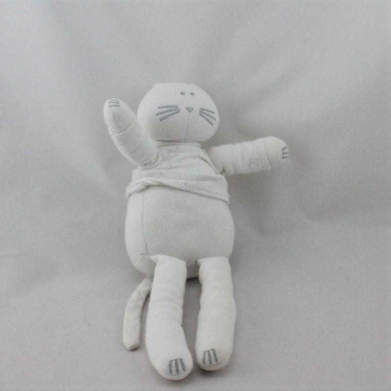 Doudou chat blanc étoiles BOUT'CHOU BOUTCHOU