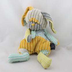 Doudou lapin jaune beige gris bleu pois rayé velours HISTOIRE D'OURS