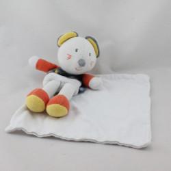 Doudou plat souris blanche grise orange mouchoir cajou SUCRE D'ORGE