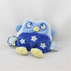 Doudou et compagnie photoluminescent chouette hibou bleu étoiles