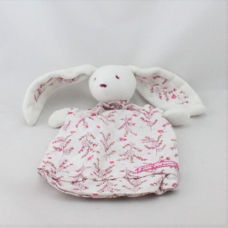 Doudou plat lapin blanc rose fleurs Petit Bonheur SERGENT MAJOR