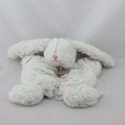 Doudou plat lapin blanc rose tout doux BABY NAT