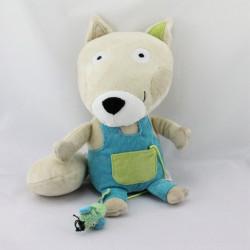 Doudou renard beige salopette bleu vert OXYBULL