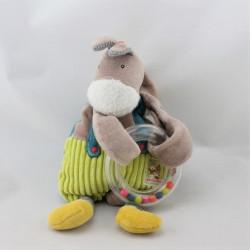 Doudou ane cheval beige bleu vert Mr Potiron les Cousins MOULIN ROTY
