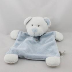 Doudou plat ours blanc bleu pois GRAIN DE BLE