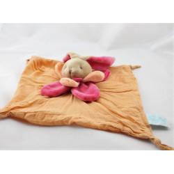Doudou plat tissu lapin orange rose col pétale BABY NAT