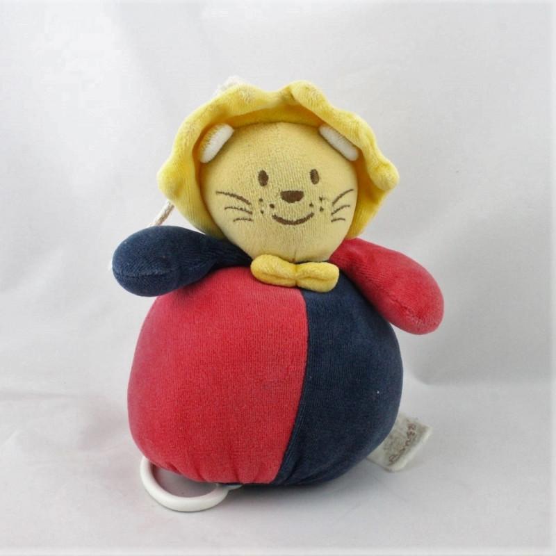 Doudou musical lion beige rouge bleu marine jaune BENGY