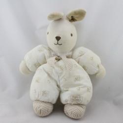 Doudou lapin blanc beige coeurs fleurs TARTINE ET CHOCOLAT