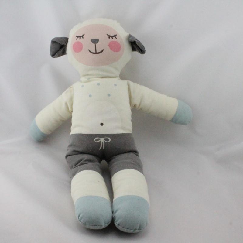 Doudou mouton tissu blanc gris bleu pois BLABLA