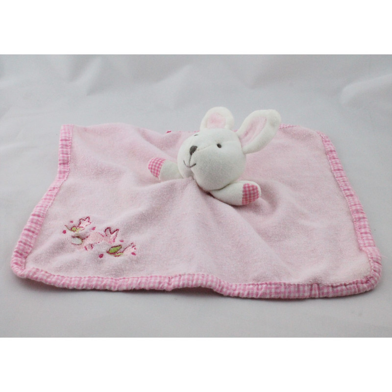 Doudou plat lapin rose PLANET ET CO
