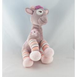 Doudou Girafe blanche rose gris vert fleur Arthur et Lola