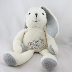 Doudou lapin blanc gris ANNA CLUB PLUSH