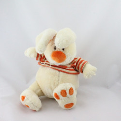 Doudou lapin blanc orange rayé ANNA CLUB PLUSH