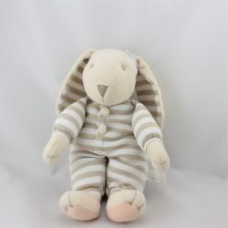Doudou lapin blanc beige rayé Priscilla Larsen