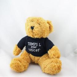 Doudou peluche ours beige bleu marine TEMPS POUR L'UNICEF