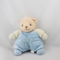 Doudou semi plat ours bleu blanc étoile FANTASY TOYS