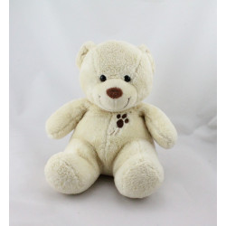 Doudou ours blanc écru marron empreinte NICOTOY