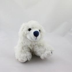 Doudou ours polaire blanc bleu marine GIPSY