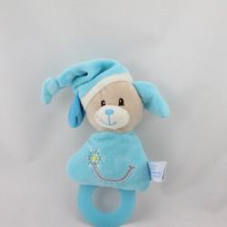 Doudou hochet chien bleu fleur GIPSY